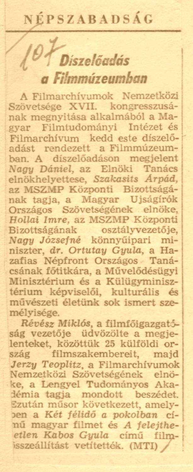 The 1961 FIAF congress in Budapest - Hungarian National Film